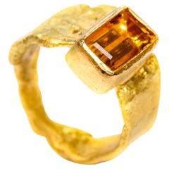 Yellow Beryl 18 Karat Gold Wide Ring