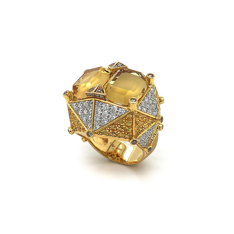 Dilys' Chub-Bee Ring  Inspired by the head of Bumble Bees, this ring is a statement piece that will certainly make heads turn. The Chub-Bee Ring is a part of Dilys' Novel Collection which features a pair of beautiful Yellow Beryls totalling at