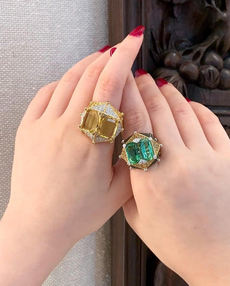 Women's or Men's Yellow Beryl and Diamonds
