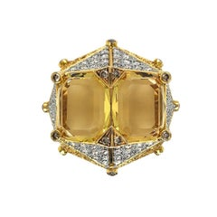 """Yellow Beryl and Diamonds """"Chub-Bee"""" Ring by Dilys' in 18K Gold"""