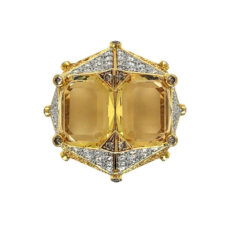 """Yellow Beryl and Diamonds """"Chub-Bee"""" Ring by Dilys' in 18K Gold For Sale"""