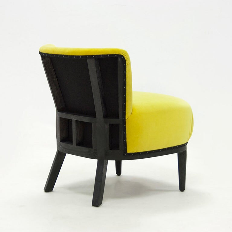 Chair yellow black with structure in solid blackened tinted wood. Upholstered and covered with yellow velvet high quality fabric. Also available with other fabric colors on request.