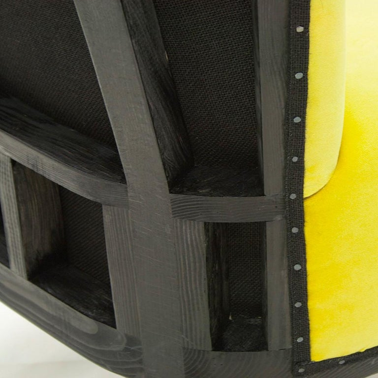 Contemporary Yellow Black Chair For Sale
