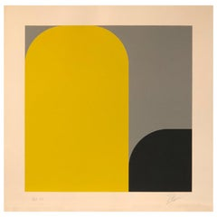 Yellow, Black, Gray Abstract Lenk Signed Numbered Screenprint Untitled II, 1977