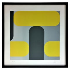 Yellow, Black & Gray Kaspar Lenk Signed Numbered Screen-Print Untitled III, 1977