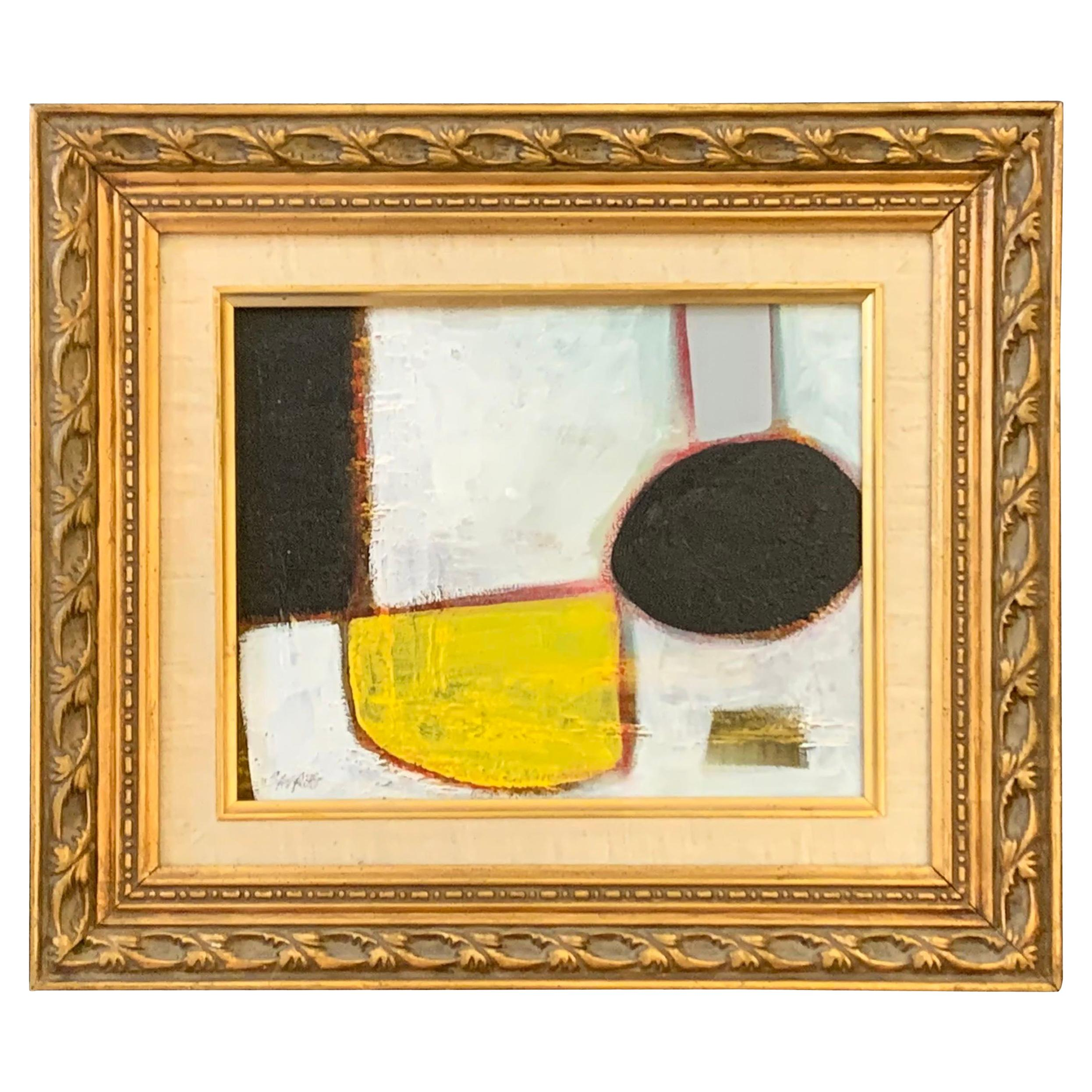 Yellow, Black, White Gouache Abstract Painting, USA, Contemporary