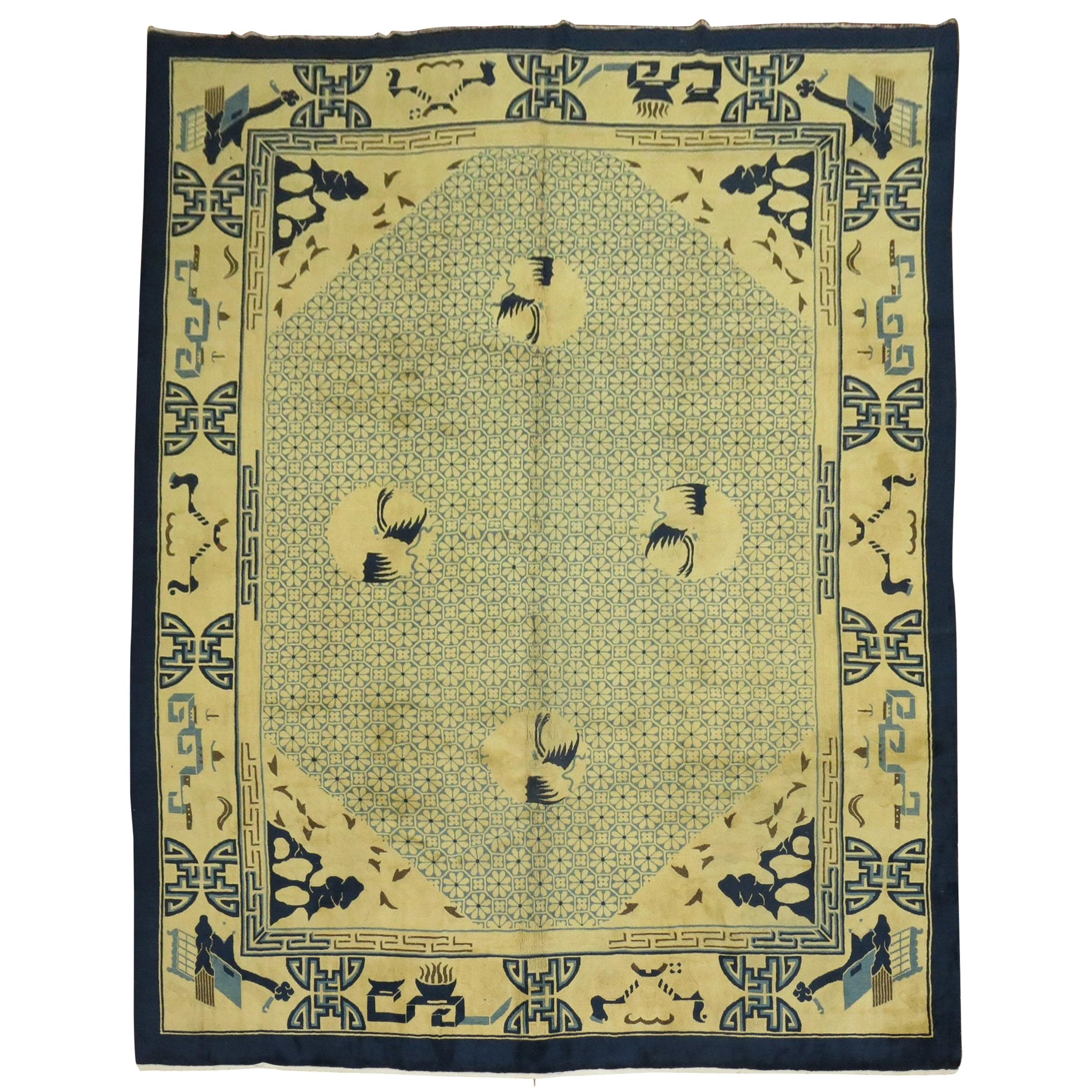 Yellow Blue Antique Chinese Room Size Rug