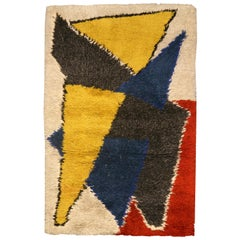 Mid Century Scandinavian Yellow, Blue, Red & Black Handwoven Wool Rug