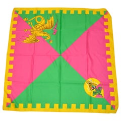 "Yellow Border with Fuchsia & Green ""Kingdom Dragon"" Scarf"