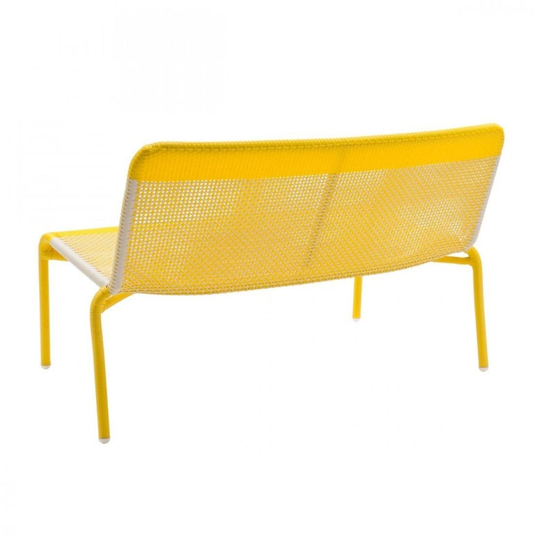 Mid-Century Modern Yellow Braided Resin French Design Outdoor Sofa For Sale