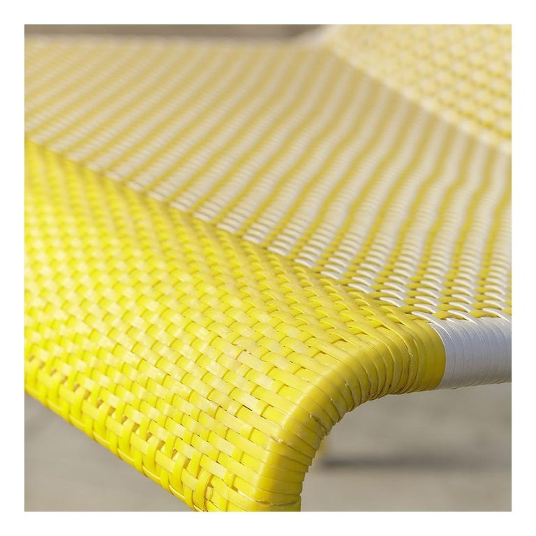 Yellow Braided Resin French Design Outdoor Sofa In New Condition For Sale In TOURCOING, FR