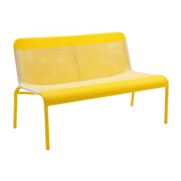 Contemporary Yellow Braided Resin French Design Outdoor Sofa For Sale