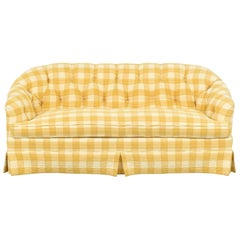 Yellow Buffalo Check Plaid Quilted Chesterfield Sofa, Custom, Charles Stewart Co