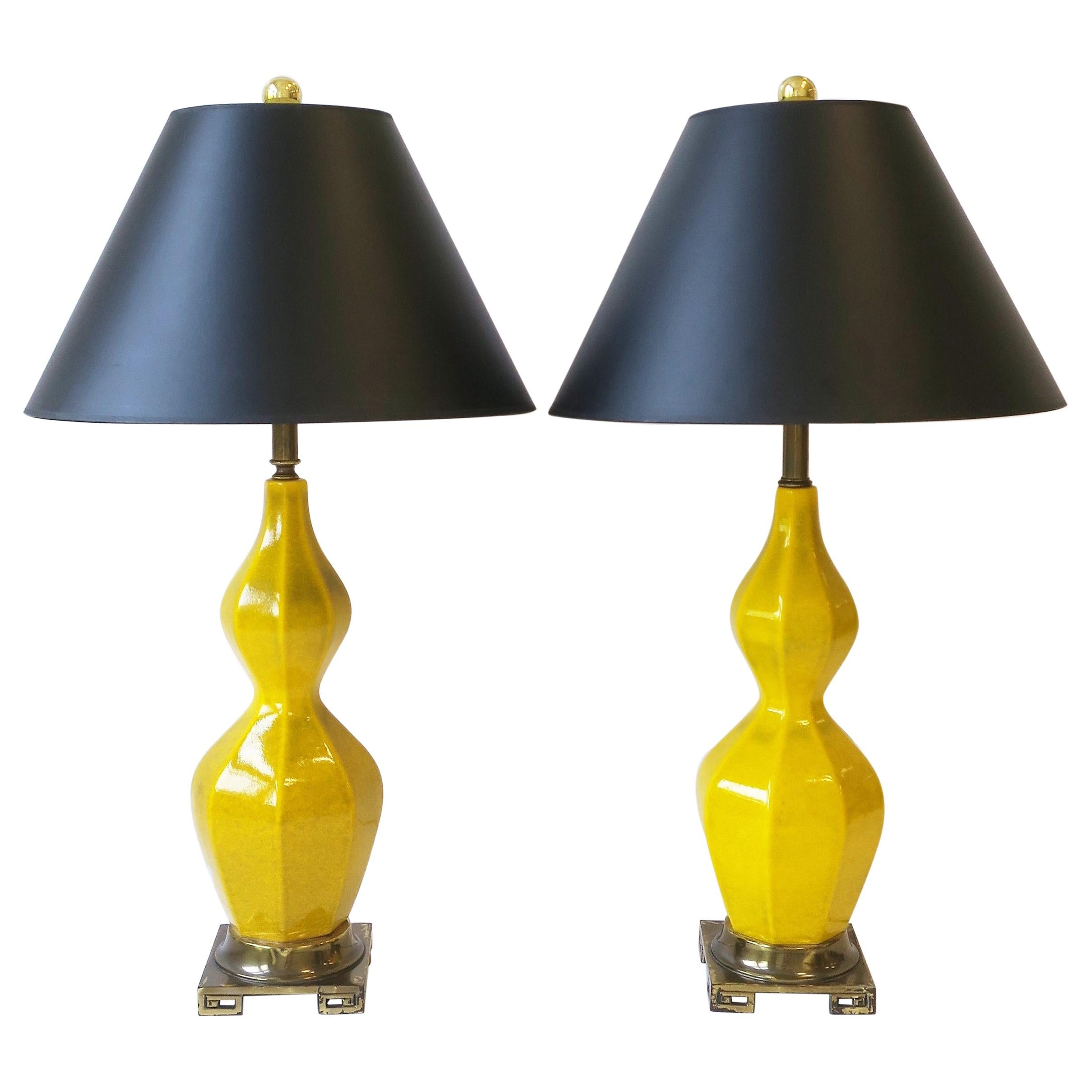 Yellow Ceramic and Brass Table Lamps, circa 1960s, Pair