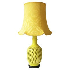 Yellow Ceramic Chevron Chinoiserie Table or Desk Lamp with Silk Shade