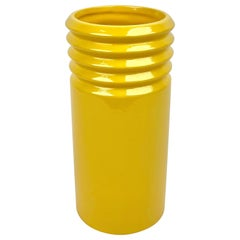 Yellow Ceramic Cylindric Vase by Il Picchio, Italy, 1960s