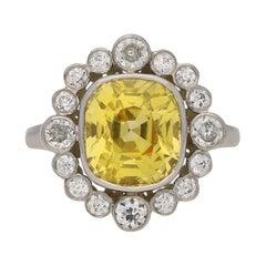 Yellow Ceylon Sapphire and Diamond Coronet Cluster Ring, English, circa 1960