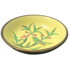 Yellow Chinoiserie Dish with Brass Bottom for Lord and Taylor Made in Hong Kong