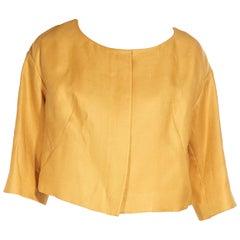 Chloe Yellow Linen Cropped Jacket