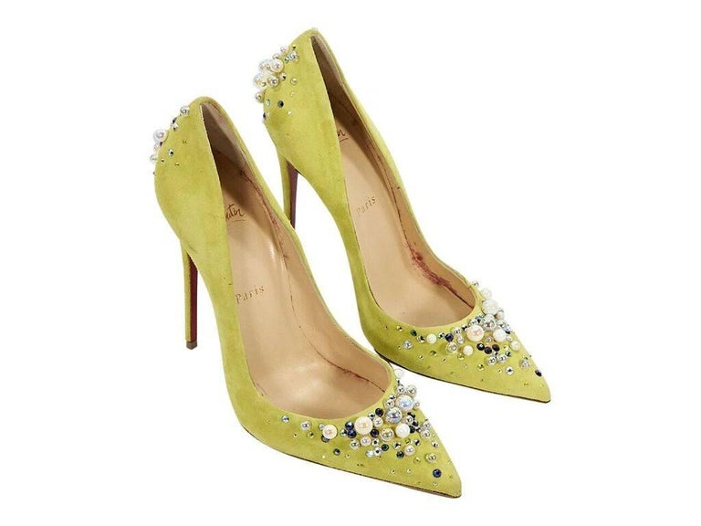 size 40 d5a15 15d21 Christian Louboutin Yellow Candidate Suede Pumps