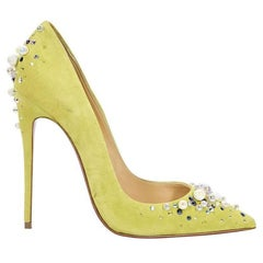 Christian Louboutin Yellow Candidate Suede Pumps