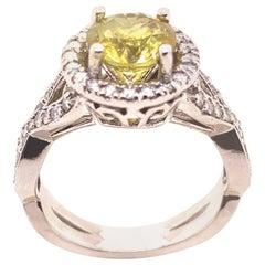 Yellow Chrysoberyl 1.65 Carat and Diamond 0.70 Carat Ring in 14 Karat White Gold