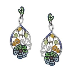 Yellow Citrine Blue Sapphire Topaz Tsavorite Diamond White Gold Drop Earrings