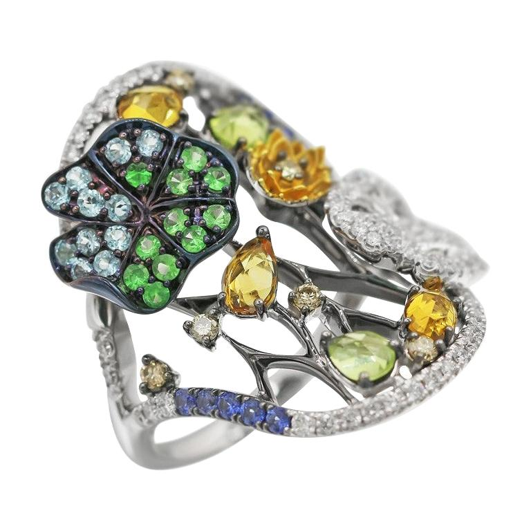 Yellow Citrine Blue Sapphire Topaz Tsavorite Diamond White Gold Nature Ring