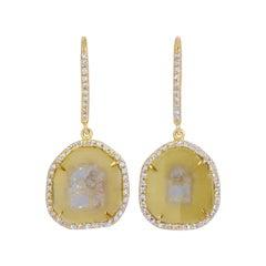 Yellow Clear Diamond Slice Drop Earrings with Diamond Halo in 18k Yellow Gold