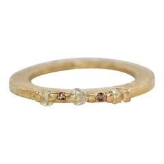 Yellow Color Diamonds 18 Karat Gold Alternative Engagement Bridal Stackable Ring