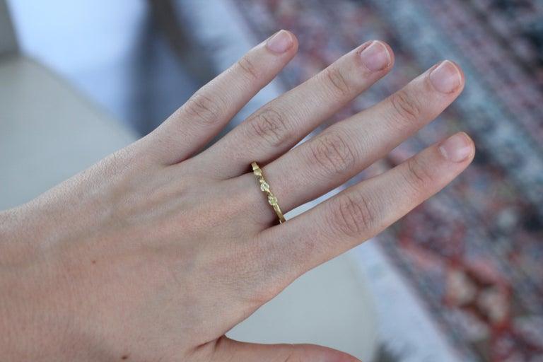 Yellow Color Diamonds 18 Karat Gold Alternative Engagement Bridal Stackable Ring For Sale 8