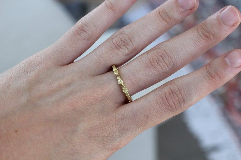 Yellow Color Diamonds 18 Karat Gold Alternative Engagement Bridal Stackable Ring For Sale 9