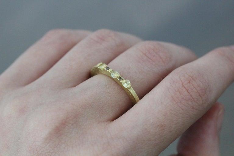 Yellow Color Diamonds 18 Karat Gold Alternative Engagement Bridal Stackable Ring For Sale 11