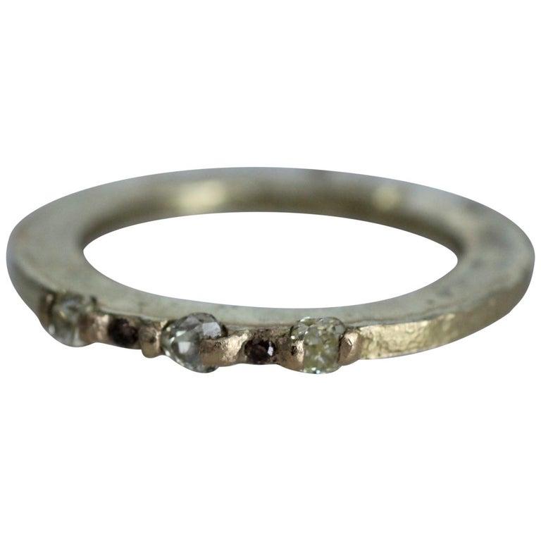 Yellow Color Diamonds 18 Karat Gold Alternative Engagement Bridal Stackable Ring For Sale