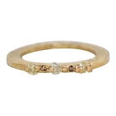 Yellow Color Diamonds 18 Karat Recycled Gold Wedding Three-Stone Stackable Ring