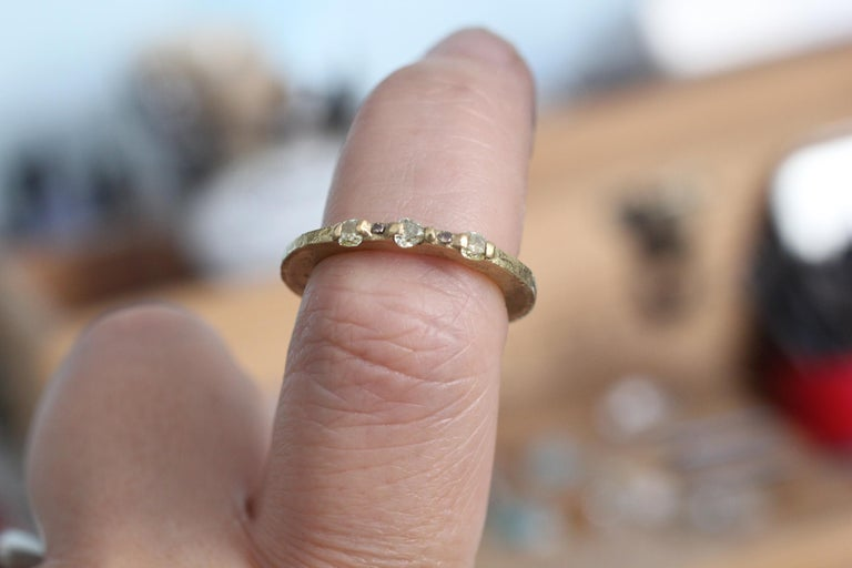 Yellow Color Diamonds 18 Karat Gold Alternative Engagement Bridal Stackable Ring For Sale 4