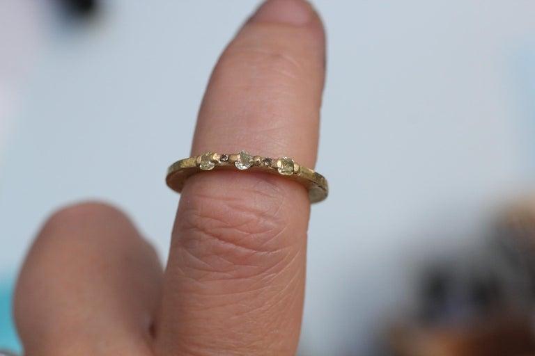 Yellow Color Diamonds 18 Karat Gold Alternative Engagement Bridal Stackable Ring For Sale 5