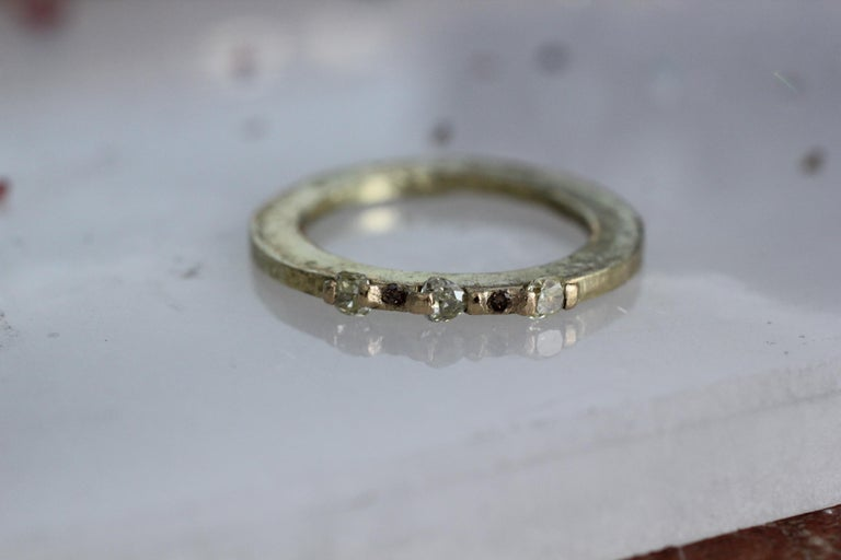 Yellow diamonds in recycled 18K gold, alternative engagement bridal ring, Simplicity Large band, or stackable ring. A contemporary handmade one-of-a-kind design set with sparkling yellow and contrasting brown diamonds. All in recycled 18K gold.