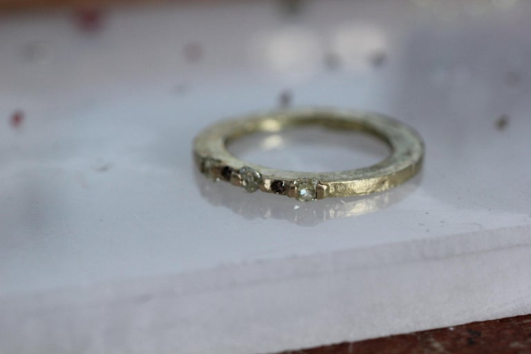 Contemporary Yellow Color Diamonds 18 Karat Gold Alternative Engagement Bridal Stackable Ring For Sale
