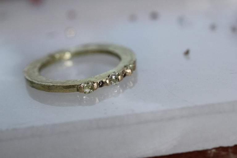 Cushion Cut Yellow Color Diamonds 18 Karat Gold Alternative Engagement Bridal Stackable Ring For Sale