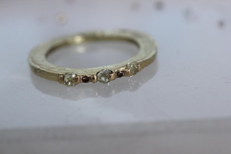 Yellow Color Diamonds 18 Karat Gold Alternative Engagement Bridal Stackable Ring In New Condition For Sale In New York, NY