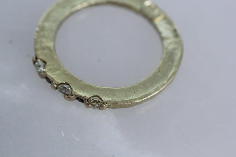 Yellow Color Diamonds 18 Karat Gold Alternative Engagement Bridal Stackable Ring For Sale 1