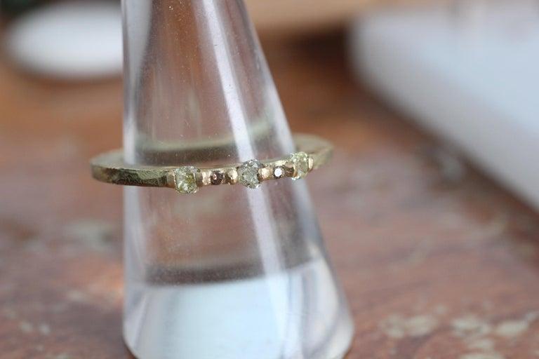 Yellow Color Diamonds 18 Karat Gold Alternative Engagement Bridal Stackable Ring For Sale 3