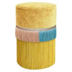 Yellow Couture Geometric Line Pouf
