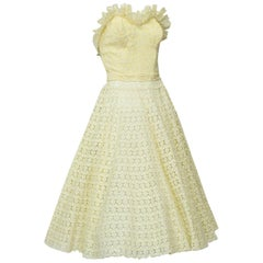Yellow Crochet Sun Suit with Strapless Bustier and Circle Skirt - Med, 1950s