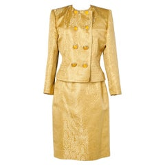 Yellow damasked skirt- suit with jewlery buttons Jean-Louis Scherrer