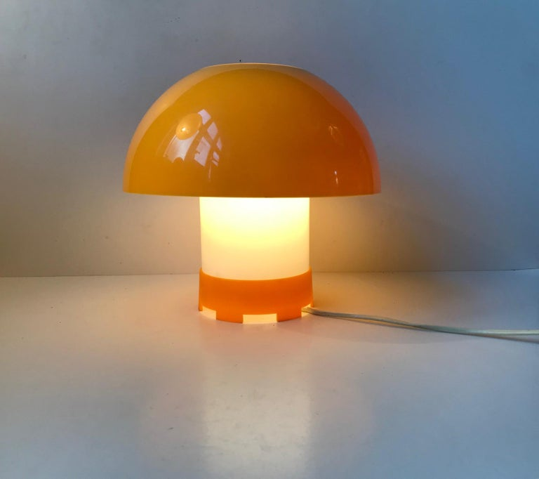 This is a dual colored hybrid table or pendant light designed by the Danish designer Bent Karlby in the late 1960s. It is made from yellow and white acrylic and was manufactured by ASK Belysning in the early 1970s. Intact, and in clean vintage