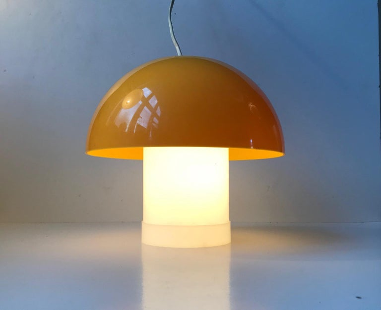 Space Age Yellow Danish Table- or Pendant Lamp by Bent Karlby for ASK Belysninger, 1970s For Sale