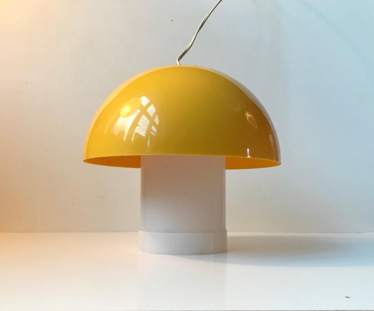 Yellow Danish Table- or Pendant Lamp by Bent Karlby for ASK Belysninger, 1970s In Good Condition For Sale In Esbjerg, DK