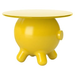 Yellow Decorative Stool and Playful Sculpture, Pogo by Joel Escalona
